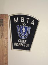 Buy 1990's Era MBTA Chief Inspector, MA Iron/Sew on Patch