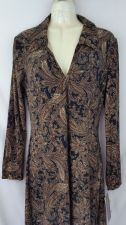 Buy Connected Apparel size 6 Dress New with Tag Paisley Brown Black