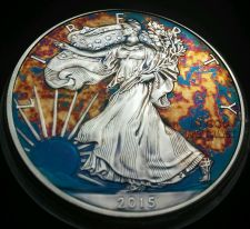 Buy 2015 Rainbow Toned Silver American Eagle Coin 1 ounce silver uncirculated #a279