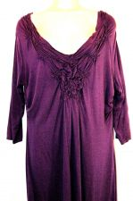 Buy Coldwater Creek Dress Small Purple Cotton 8 Rouched Solid Rayon S