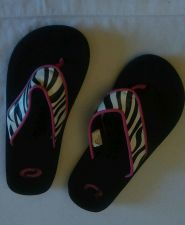 Buy Zebra flip flops 12-13 girls kids Shoes black white pink