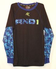 Buy And 1 shirt boys 14-16 long sleeve Tshirt royal blue Black Basketball NWT