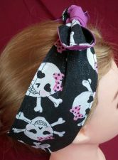 Buy Headband hair wraptie bandanna Skulls pink bows black glitter fabric