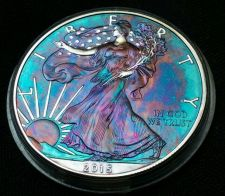 Buy 2015 Rainbow Toned Silver American Eagle 1 ounce fine silver uncirculated #a228