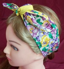Buy Headband hair wraptie bandana Vibrant Floral boho hippie hand made 100% cotton