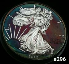 Buy 2015 Rainbow Toned Silver American Eagle 1 ounce fine silver uncirculated #a296