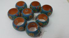 Buy Set of 8 DII India Wooden Teal Green Ladybug SunFlower Napkin Ring Holders