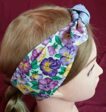 Buy Headband hair wraptie bandana Vibrant Floral self tie hand made 100% cotton