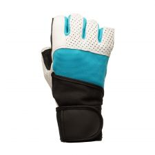 Buy Lifting Gloves, Blue with White Leather with Cotton Wrist Wrap, Medium size