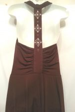 Buy London Times Dress 8 brown Cocktail Party Womens Cowl Neck Beaded Solid
