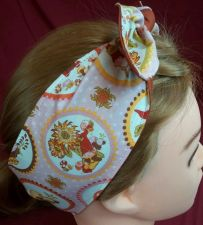 Buy Headband hair wraptie bandana gnome and Mushroom Print Boho Hippie hand made