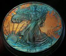 Buy 2015 Rainbow Toned Silver American Eagle 1 ounce fine silver uncirculated #a284