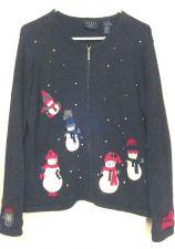 Buy Crazy Horse Christmas Sweater Holiday snowman Medium petite Gray cardigan