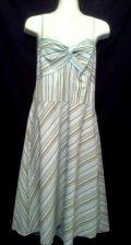 Buy Ann Taylor Loft Dress 8 Green Striped SunDress Cotton