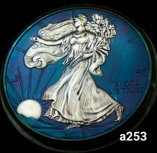 Buy 2015 Rainbow Toned Silver American Eagle 1 ounce fine silver uncirculated #a253