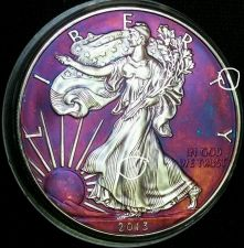 Buy 2013 Rainbow Toned Silver American Eagle 1 troy ounce silver impared please read