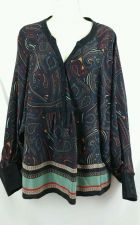 Buy Petticoat Alley Medium Paisley 100% Silk Black Long Sleeve Womens M