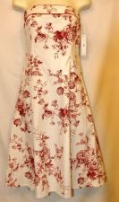 Buy Teeze Me Dress 5 Strapless NWT Red White floral cotton cocktail Juniors