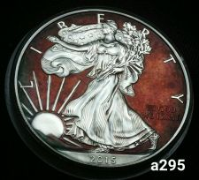 Buy 2015 Rainbow Toned Silver American Eagle 1 ounce fine silver uncirculated #a295