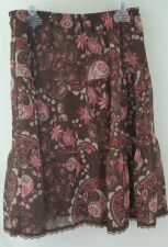 Buy Cherokee 14/16 Brown Pink Floral Skirt Paisley Long girls