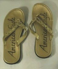 Buy American Eagle Glitter Gold Flip Flops size 3 Shoes