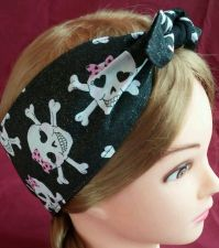 Buy Headband hair wraptie bandanna Skulls pink bow on black glitter fabric