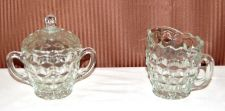 Buy American Whitehall 3 pc Cream Sugar Set Diamond Pattern Clear Glass NIB Made USA