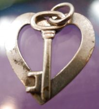 Buy Vintage Sterling Silver Heart w/ Attached Skeleton Key Charm
