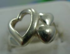 Buy sz 7.5 Ring Sterling Silver 3 Connected Hearts 2 SOLID 1 OPEN Designer Inspired