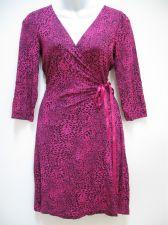 Buy Express NEW Pink Animal Modal Kimono Front Cross Ribbon TieUp 3/4 Sleeve Dress S