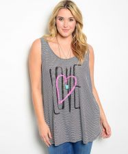 Buy Torrid White/Black Striped Love/Heart Decal Scoop Neck Knit Tank Top Size 0-5