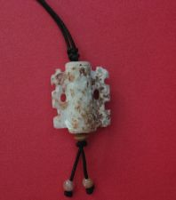 Buy CHINESE CARVED CALCIFIED WHITE JADE PENDANT