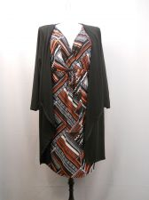 Buy Elementz Geometric Layered Look Surplice Neck Cardigan/Attached Dress Size 3X