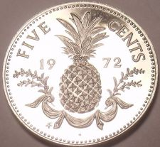 Buy Rare Proof Bahamas 1972 5 Cents~35,000 Minted~Pineapple~Free Shipping