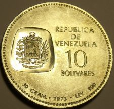 Buy Gem Unc Silver Venezuela 1973 10 Bolivares~Edge Incription~Excellent~Free Ship