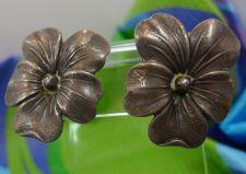 Buy Screw Back Earrings : Vintage Hibiscus Flower Marked Sterling Sterling