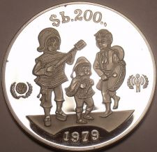 Buy Rare Silver Proof Bolivia 1979 200 Pesos~International Year of the Child~Fr/Ship