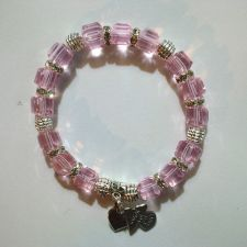 Buy One of a kind Handmade Bracelet with Pink Crystal Cube Beads