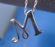 """Buy Initial """"M"""" Pendant on 18"""" Chain Sterling Silver Both By Judith Jack"""
