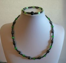 Buy ELEGANT MAGNETIC SET HEMATITE NECKLACE & BRACELET WITH BEAUTIFUL CAT EYE STONES