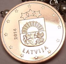 Buy Gem Unc Latvia 2014 5 Euro Cents~Latvia National Arms~Free Shipping