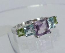 Buy sz 6 RING Sterling Silver 5 Pastel Princess Cut Gemstones Amethyst Peridot Topaz