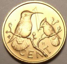 Buy Rare Gem Unc British Virgin Islands 1974 Cent~Only 12,000 Minted~Hummingbird~F/S