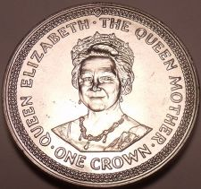 Buy Massive Gem Unc Isle Of Man 1985 Crown~The Queen Mothers 85th Birthday~Free Ship