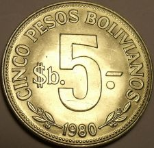 Buy Huge Gem Unc Bolivia 1980 5 Peso Bolivanos~Last Year~Metal Rotation~Free Ship