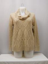 Buy Faded Glory Women's Sweater Size L Medium Diamond Knit Tunic Cowl Neck Oatmeal
