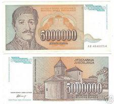 Buy YUGOSLOVIA 5 MILLION DINARA HIGH DENOMINATION~FREE SHIP