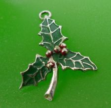 Buy Enamel and Silver Christmas Mistletoe Charm