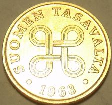 Buy Gem Unc Finland 1968 Penni~Four Joined Loops~We Have Gen Unc Coins~Free Shipping