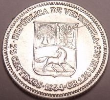 Buy Unc Silver Venezuela 1954-P 25 Centimos~Now Over 60 Years Old~Free Shipping